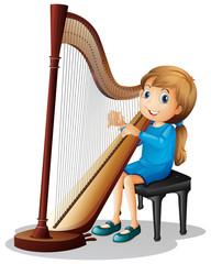 Little girl playing harp