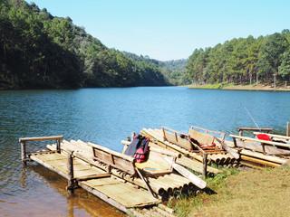 Bamboo port and rafts at Pang Oung, Lake in Mae Hong Son, Northe