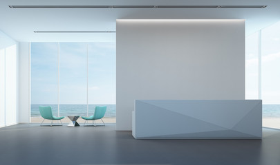 Fototapete - Luxury sea view lobby with white wall in modern office - 3D rendering
