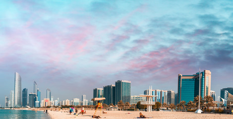 Abu Dhabi at sunset. View from the city beach