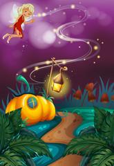 Fairy flying in garden at night