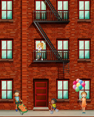Apartment building with many kids