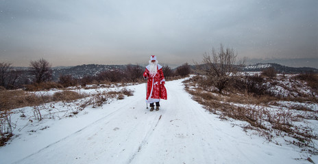 Santa Claus goes on a snowy road, winter landscape