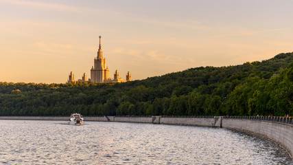 The embankment of the Moscow river with views of the University. Moscow. Russia.