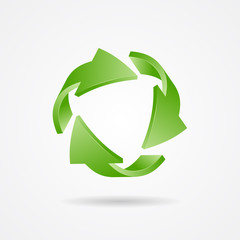 Recycle symbol, recycle logo, ecology logo with green arrow