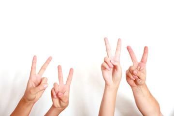 Hände in die Höhe - Peace