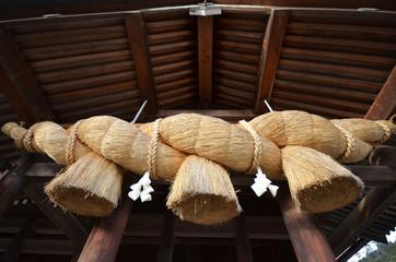 Sacred Straw Rope in front of the Prayer Hall of Izumo-taisha