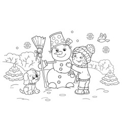 Coloring Page Outline Of Cartoon Boy Making Snowman With Dog Winter Book For