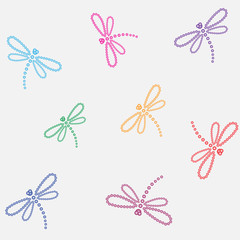 Seamless pattern of pearl dragonfly. Vector illustration.