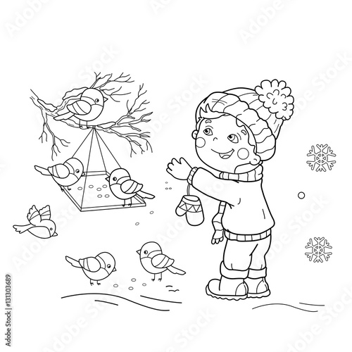 Coloring Page Outline Of cartoon boy feeding birds Bird feeder