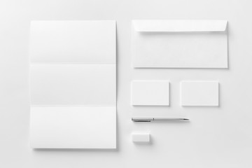 Corporate stationery set mockup. Blank white textured brand ID