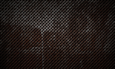 Rusty stainless metal textured perforated surface