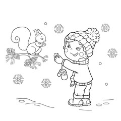 Coloring Page Outline Of cartoon boy feeding a squirrel. Winter. Coloring book for kids