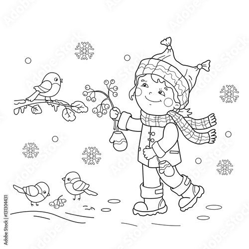Coloring Page Outline Of Cartoon Girl Feeding Birds Winter Book For Kids