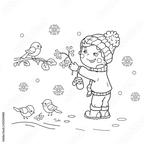 Coloring Page Outline Of Cartoon Birds In The Winter Bird Feeder Bullfinch Titmouse Sparrows Book For Kids Stock Image And Royalty Free