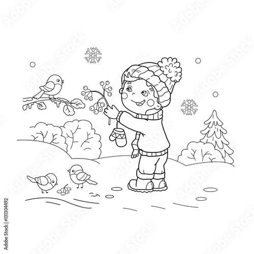Coloring Page Outline Of cartoon boy feeding birds. Winter. Coloring ...