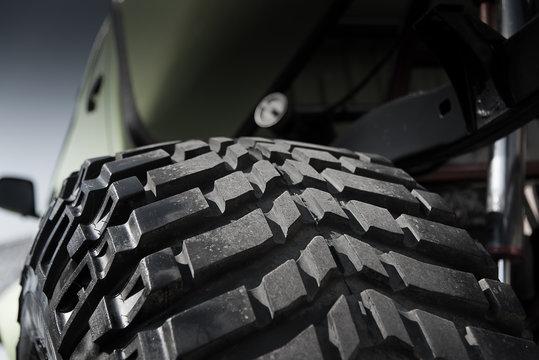 Close up off tire track 4x4 off raod car in dark concept