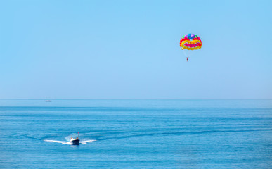 Parasailing in a blue sky, Alanya Turkey