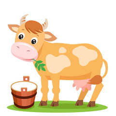 Cute Cow And Milk On A White Background. Farm Animal Character. Cut Isolated Vector. Farm Animal Toy. Farm Animal Supplies. Farm Animal Picture. Cow Smile.