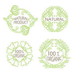 Organic Natural. Eco Vintage Icons. Icons With Text. Natural, Herbal Eco Food. Food Organics. Eco Food Pack. Natural Product. Eco Logo.