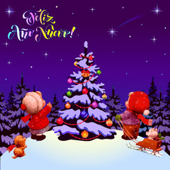 Happy New Year. Feliz Ano Nuevo. Congratulations in Spanish. Illustration. Children near a Christmas tree. Purple background.