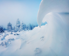 Huge mounds of snow in Carpathian mountains