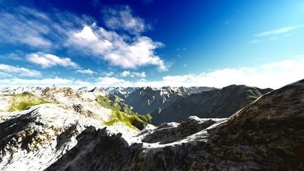 Alpine landscape in the Alps 3d rendering