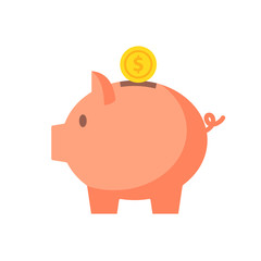 Piggy bank with coin vector illustration in flat style