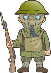 Cartoon British soldier during World War one