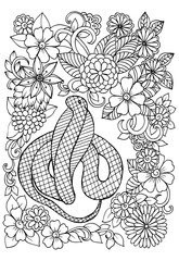 Doodle flowers and the snake