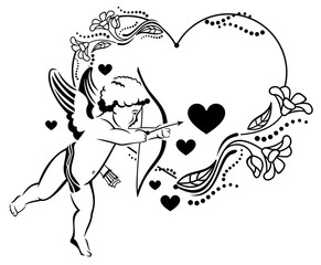 Black and white heart-shaped Valentine frame with cupid.