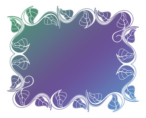 Abstract silhouette floral frame.
