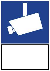 vss24 VideoSurveillanceSign vss - ks161 Kombi-Schild - Hinweis Zeichen Piktogramm - Videoüberwachung - blank blanko - DIN A1 A2 A3 A4 Poster XXL - blau g4837