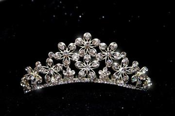 Crown, wedding tiara, diadem isolated on black background