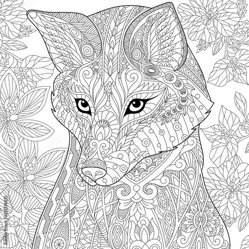 Stylized Cartoon Wild Fox Animal And Hibiscus Flowers
