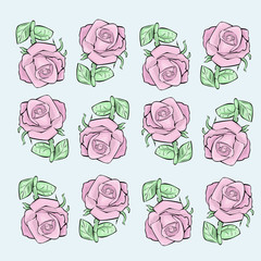 pattern of pink roses