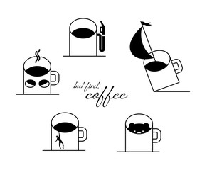 Funny situations with a cup of coffee