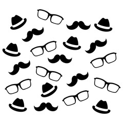Mustaches glasses and hats icon vector illustration graphic design