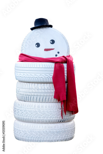 Snowman made from painted tires isolated on white for Snowmen made from tires
