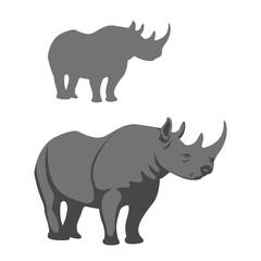 rhinoceros vector illustration style Flat set