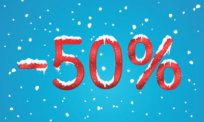50 percents discount numbers with snow and icicles. Snowing reta
