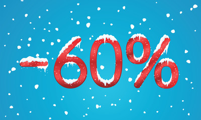 60 percents discount numbers with snow and icicles. Snowing reta