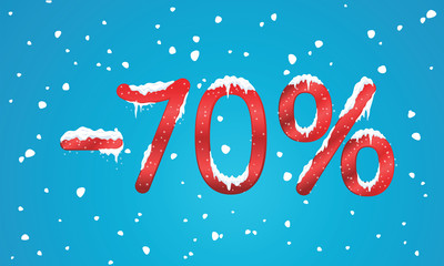 70 percents discount numbers with snow and icicles. Snowing reta