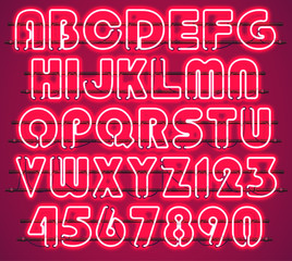 Glowing Red Neon Alphabet with letters from A to Z and digits from 0 to 9 with wires, tubes, brackets and holders. Shining and glowing neon effect. Every letter or digit is separate unit .