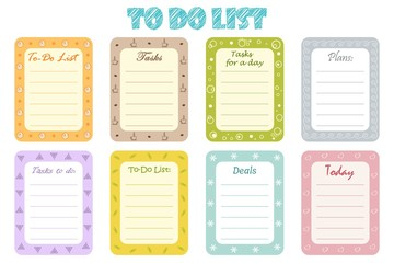"Set of eight planners ""To-Do List"" for organizing a day. Vector illustration"