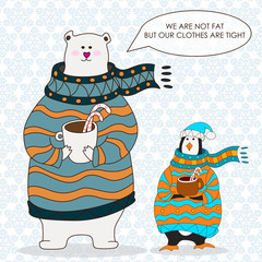 Funny penguin and polar bear. Christmas hat.vector