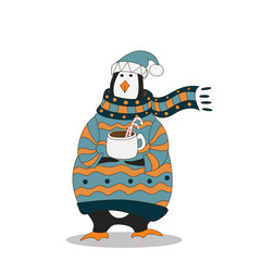 Funny penguin. Christmas hat. vector