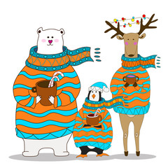 penguin with bear and deer. Christmas vector