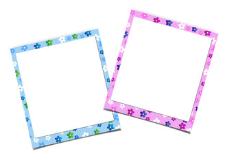 Paper photo frame with floral pattern isolated on white background.