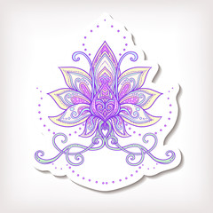 fashion patches Vector ornamental Lotus flower, ethnic art, patt